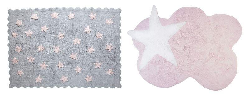 Alfombras rosas infantiles con estrellas en tonos pasteles