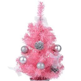 Árbol de navidad de color rosa con adornos y bolas navideñas de plata