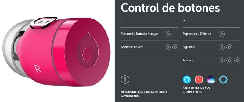 Botones de control de los auriculares bluetooth inalámbricos Air by crazybaby (Nano) rosas con Cápsula de Carga