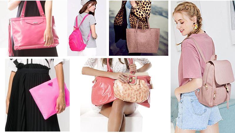 Mujeres con bolsos rosas de hombro, bandolera, de mano, mochila y shopper