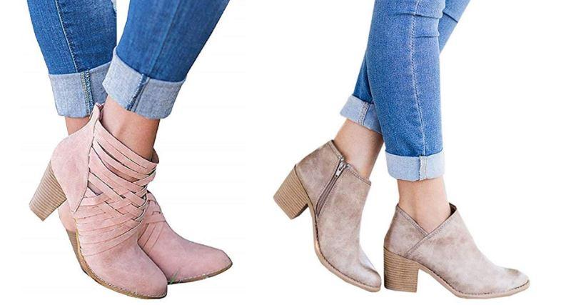 Botines y botas rosas para mujer