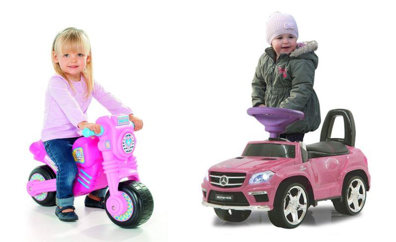 Moto correpasillos rosa para niña y coche mercedes correpasillos rosa para niña y niño