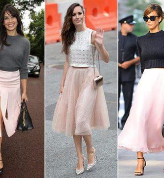Combinaciones de ropa rosa para mujer en mujeres famosas