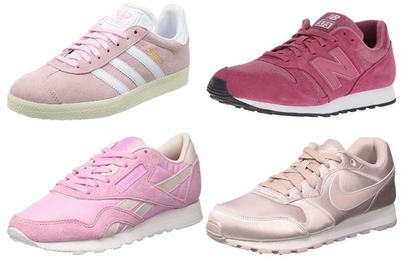 Zapatillas deportivas rosas para mujer de las marcas Adidas, Nike, Reebok y New Balance