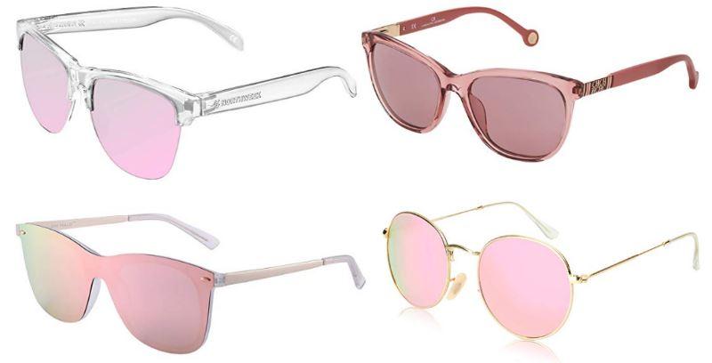Modelos de gafas de sol rosas para mujer con cristales de espejo y poralizados; monturas de metal pasta