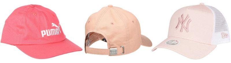 Gorras rosas para mujer de las marcas Puma, Ralph Lauren y New York Yankees, en tonos rosa palo, pastel y fucsia