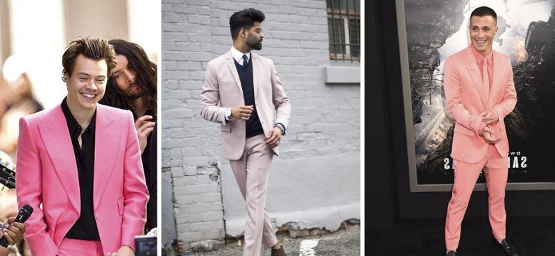 Hombres usando combinaciones de ropa rosa