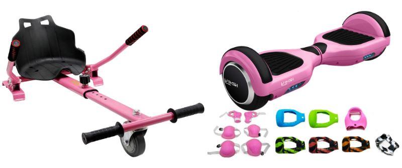 Hoverboard rosa con silla y accesorios