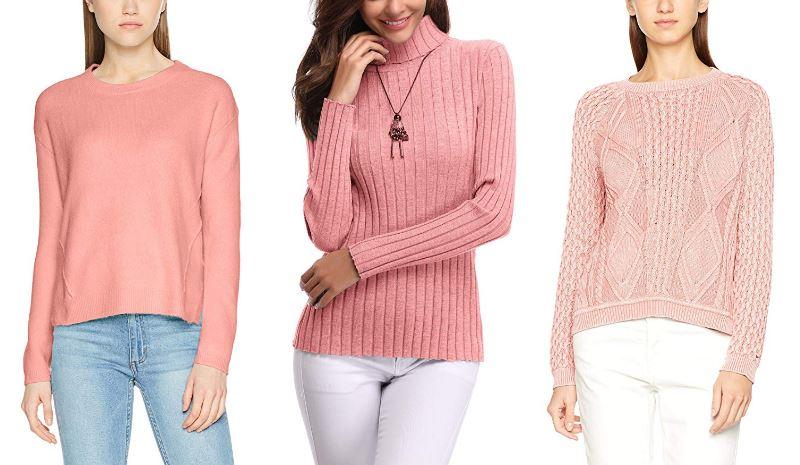 Jerseys rosas para mujer de punto, colores rosa palo y chicle, de Tommy Hilfiger