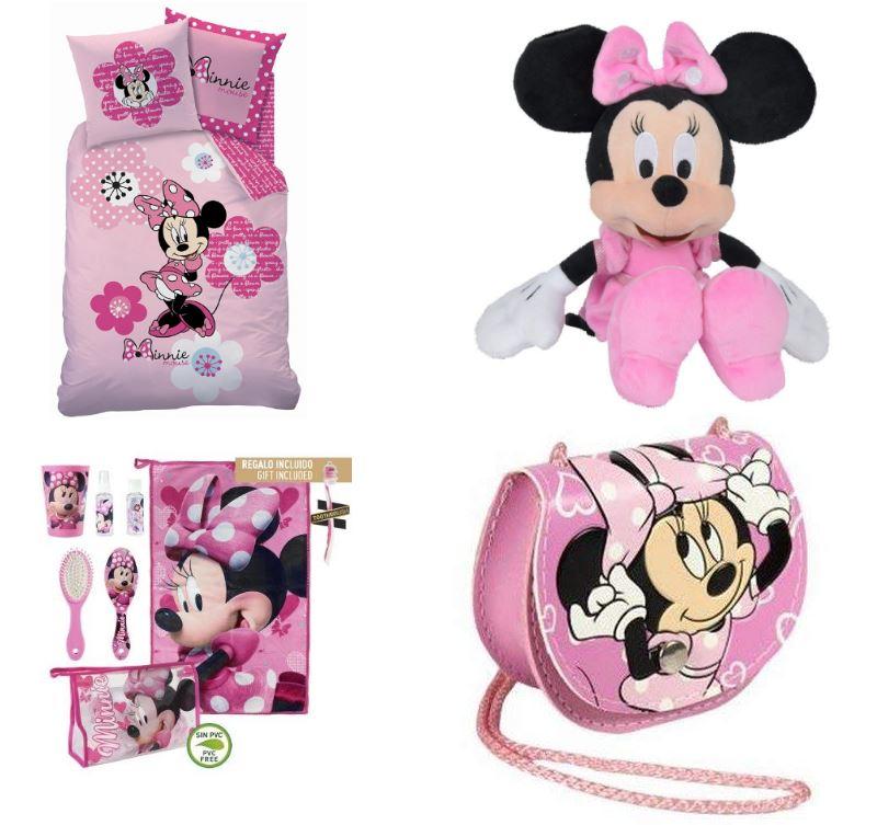 Artículos y productos de Minnie Mouse rosa: peluche, sábanas, bolso y neceser
