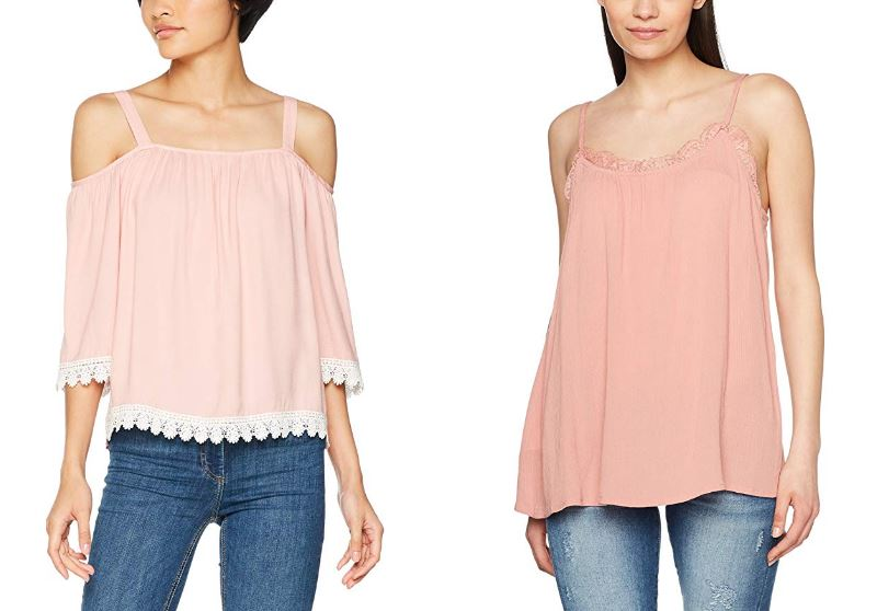 Mujeres jóvenes con blusa rosa palo mesonera y blusa rosa chicle sin mangas con los hombros al aire
