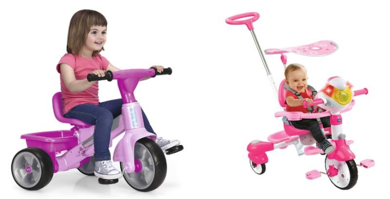 Triciclo rosa para niña y triciclo rosa evolutivo para bebé, con asa, arnés de seguridad y parasol