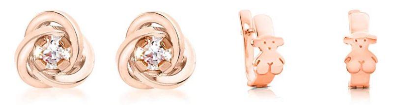 Pendientes rosas de oro y plata de las marcas Carissima (con incrustaciones de piedras) y Tous (oso)