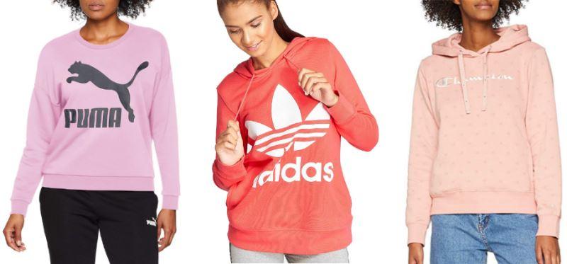 Sudaderas rosas de mujer de las marcas Adidas, Puma y Champion