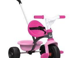 Triciclo rosa con barra de empuje para niña, arnés de seguridad y volquete