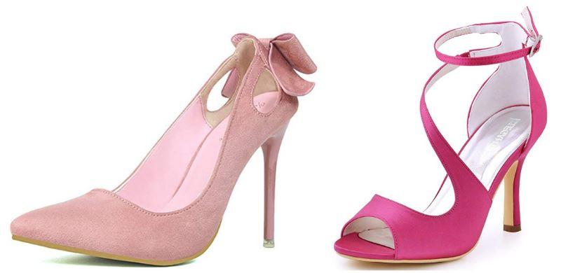 Zapatos para mujer rosa palo y fucsia para boda y fiesta